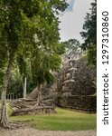 side view of the mayan temple... | Shutterstock . vector #1297310860