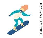 woman in snow suit snowboarding.... | Shutterstock .eps vector #1297317580