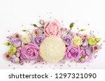 beautiful  flowers on white ... | Shutterstock . vector #1297321090