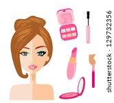 portrait of woman  half natural ... | Shutterstock .eps vector #129732356