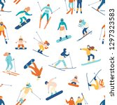 seamless pattern with skiing... | Shutterstock .eps vector #1297323583