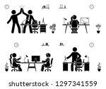 stick figure business office... | Shutterstock .eps vector #1297341559