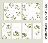 botanic card with wild flowers... | Shutterstock .eps vector #1297343539