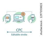 cpc concept icon. cost per... | Shutterstock .eps vector #1297353823