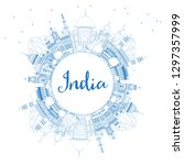 outline india city skyline with ... | Shutterstock .eps vector #1297357999