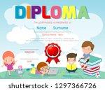 certificates kindergarten and... | Shutterstock .eps vector #1297366726
