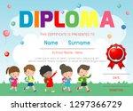 certificates kindergarten and... | Shutterstock .eps vector #1297366729