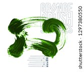green brush stroke and texture. ... | Shutterstock .eps vector #1297380550