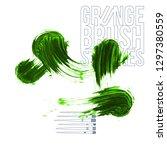 green brush stroke and texture. ... | Shutterstock .eps vector #1297380559