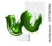 green brush stroke and texture. ... | Shutterstock .eps vector #1297380586