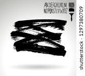 black brush stroke and...   Shutterstock .eps vector #1297380709