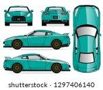 green car vector template on... | Shutterstock .eps vector #1297406140