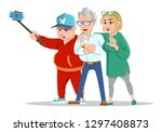 set of cheerful senior people... | Shutterstock .eps vector #1297408873