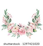 hand drawn watercolor wreath... | Shutterstock . vector #1297421020