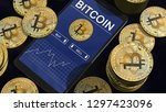 smartphone with bitcoin chart... | Shutterstock . vector #1297423096