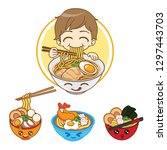 kawaii noodles boy.  delicious... | Shutterstock .eps vector #1297443703