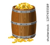 wooden barrel with treasures ... | Shutterstock .eps vector #1297455589