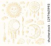 hand drawn golden boho dream... | Shutterstock .eps vector #1297465993
