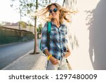 portrait of stylish smiling... | Shutterstock . vector #1297480009