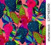 summer exotic seamless pattern. ...   Shutterstock . vector #1297483540