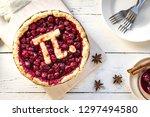 pi day cherry pie   homemade... | Shutterstock . vector #1297494580