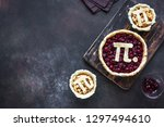 pi day cherry and apple pies  ...   Shutterstock . vector #1297494610