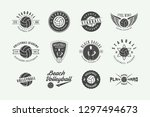 set of vintage volleyball... | Shutterstock .eps vector #1297494673