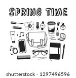 hand drawn spring fashion... | Shutterstock .eps vector #1297496596