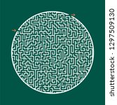 difficult round labyrinth. game ... | Shutterstock .eps vector #1297509130