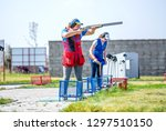 shooting sports. team workouts  ... | Shutterstock . vector #1297510150