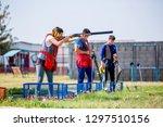 shooting sports. team workouts  ... | Shutterstock . vector #1297510156