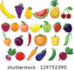 cartoon vegetables and fruits | Shutterstock .eps vector #129752390