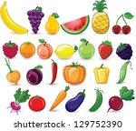 cartoon vegetables and fruits | Shutterstock .eps vector #129752390