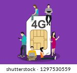 people with gadgets sitting on... | Shutterstock .eps vector #1297530559