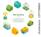 pet carriers 3d banner card... | Shutterstock .eps vector #1297538806