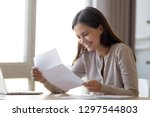 happy excited woman student... | Shutterstock . vector #1297544803