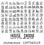 set of houses icons drawing... | Shutterstock .eps vector #1297565119