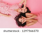 on pink isolated background... | Shutterstock . vector #1297566370