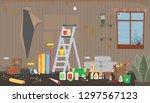 trash living room before repair.... | Shutterstock .eps vector #1297567123