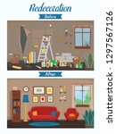 living room before and after... | Shutterstock .eps vector #1297567126