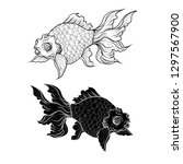 goldfish tattoo.lucky chainese... | Shutterstock .eps vector #1297567900