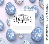 romantic easter background with ... | Shutterstock .eps vector #1297568023
