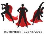superhero silhouette. powerful... | Shutterstock .eps vector #1297572016