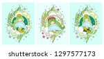 mermaids and dolphins. set of... | Shutterstock .eps vector #1297577173
