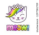 adorable white kitten with... | Shutterstock .eps vector #1297581709