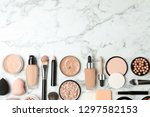 flat lay composition with skin... | Shutterstock . vector #1297582153