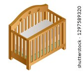 wood baby crib icon. isometric... | Shutterstock .eps vector #1297589320
