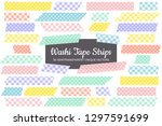 easter colors washi tape strips ... | Shutterstock .eps vector #1297591699
