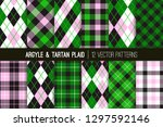 pink  green  black and white... | Shutterstock .eps vector #1297592146