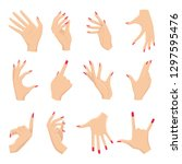 female hands gestures. vectors... | Shutterstock .eps vector #1297595476